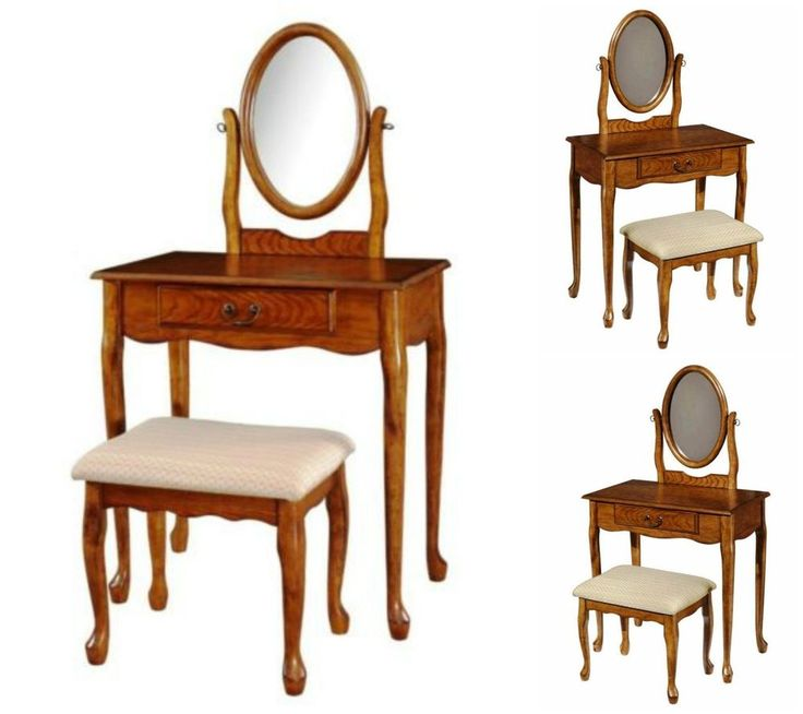Bedroom Vanity Set Wood Table Stool Bench Console Desk Storage Makeup Dressing #PowellWoodland #Traditional