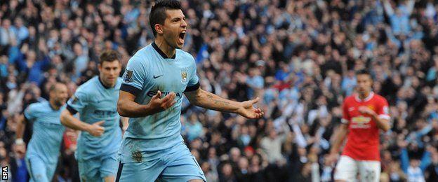 Sergio Aguero scores against Manchester United, November 2, 2014.