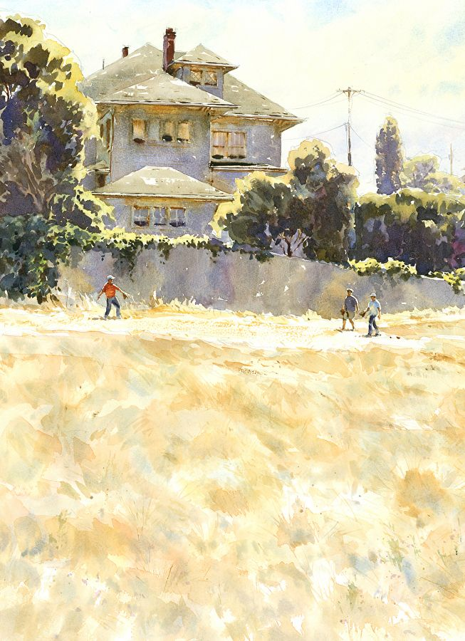 The Boys of Broadway Hill by Mike Kowalski Watercolor ~ 22 x 16