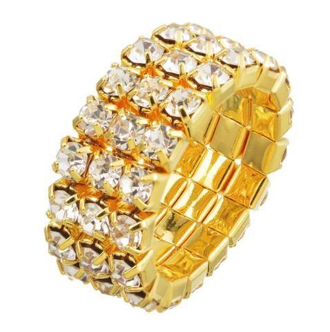 GOLD RHINESTONE CRYSTAL STRETCH RING 3 ROWS