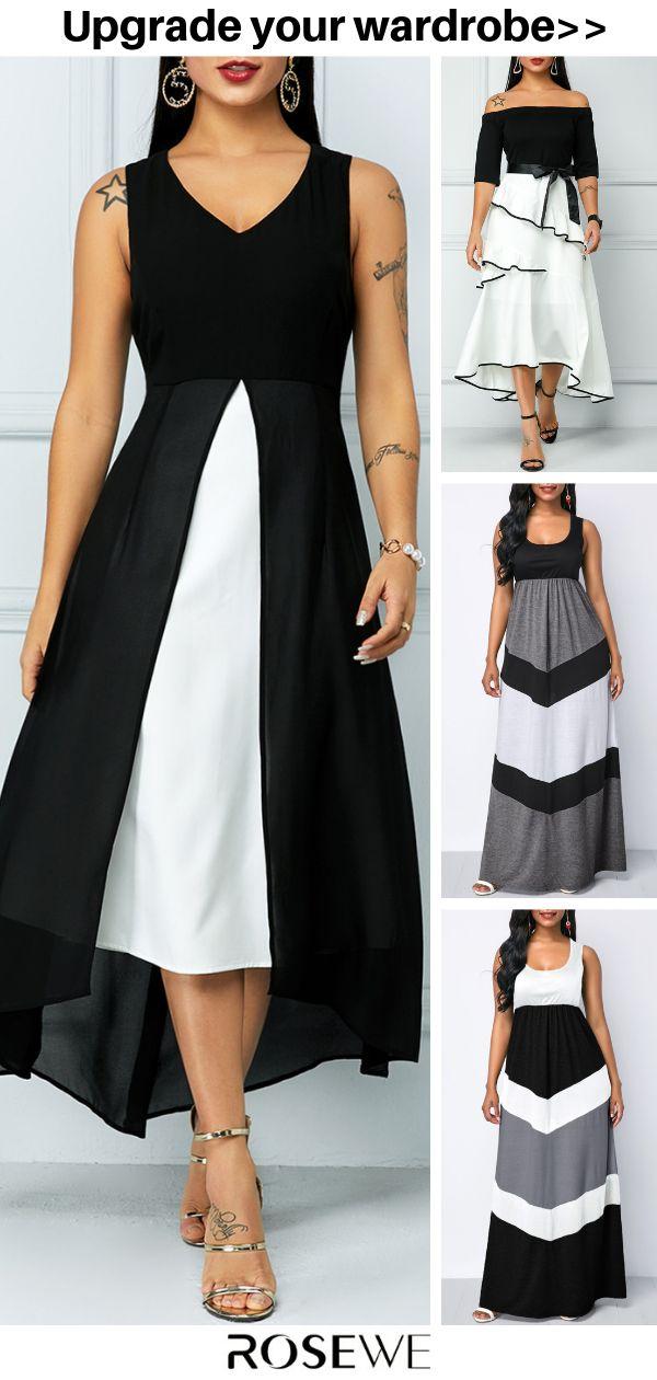 Hot Sale & V Neck Sleeveless Color Block Dress