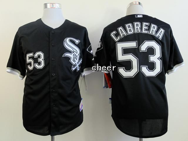 Men's MLB Chicago White Sox #53 Cabrera Black Jersey