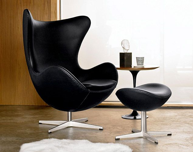 The Egg Chair by Arne Jacobson from 1958. Designed for the Radisson SAS hotel in Copenhagen, it was believed to have been inspired by Eero ...