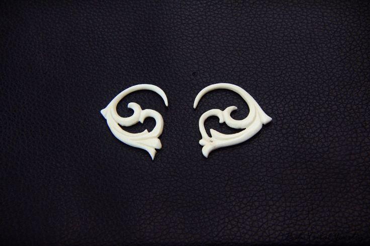 12g Spiral Gauge Small Bone Earring w Tribal Gauge Carving 2mm or 12 Gauge Piercing Plug BG007 #BaliTribalJewelry