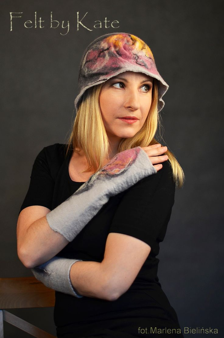 Merino wool wet felted hat by Katarzyna Milczarek https://www.facebook.com/FeltbyKate/