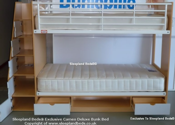 Storage Bunk Beds  for children. opened cabinets