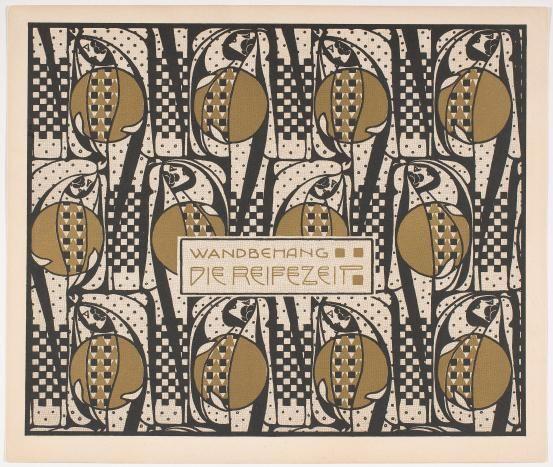 WIENER WERKSTATTE - Koloman MOSER (designer)  Austria 1868-1918  Plate from Flächen Schmuck series, published in Die Quelle 1901  26 x 30  National Gallery of Australia Research Library