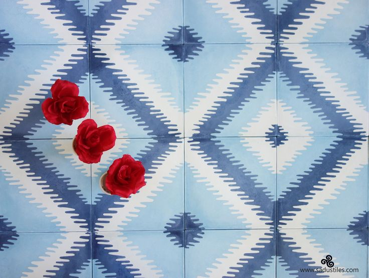 Our Ikat fabric inspired tiles in Beautiful Blue's with at touch of white