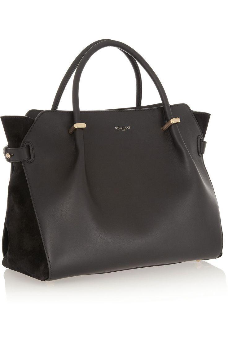 Nina Ricci|Sac à main en cuir et daim Marché|NET-A-PORTER.COM  #ninaricci #ladiesleatherbag #womensbag