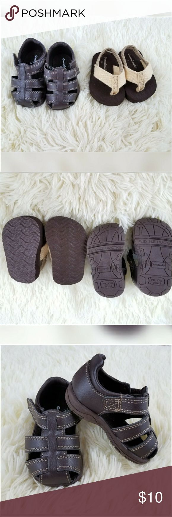🆕 New Lot of 2 Garanimals Baby Sandals size 3 Lot of 2 Garanimals Baby Sandals  NEW without tags  1pair is brown with adjustable Velcro strap  1 pair is brown and tan and look like flip flops with an elastic band to keep them on babies foot.  They are both size 3  Would be okay for male or female Garanimals Shoes Baby & Walker