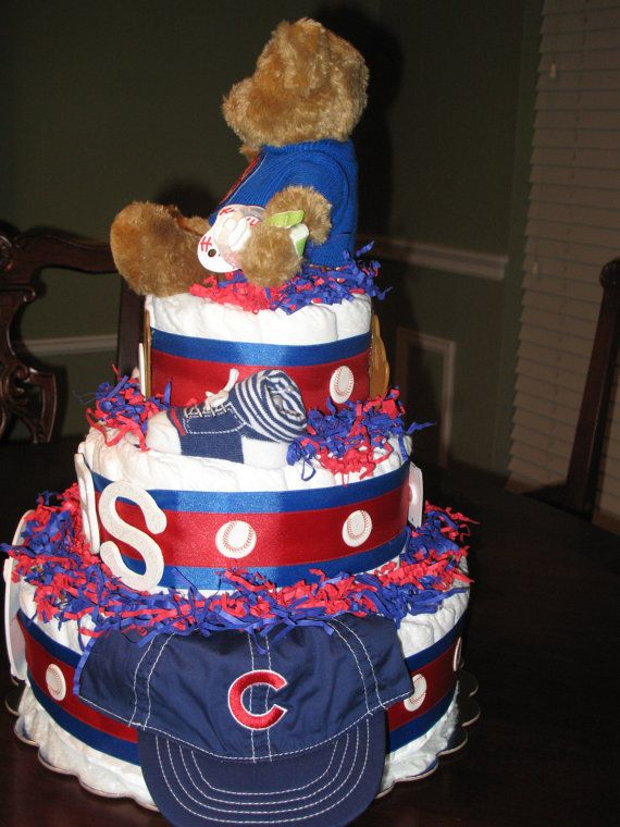 Baby Shower Cakes In Chicago ~ Chicago cubs baseball diaper cake by lilybugcreationstx on