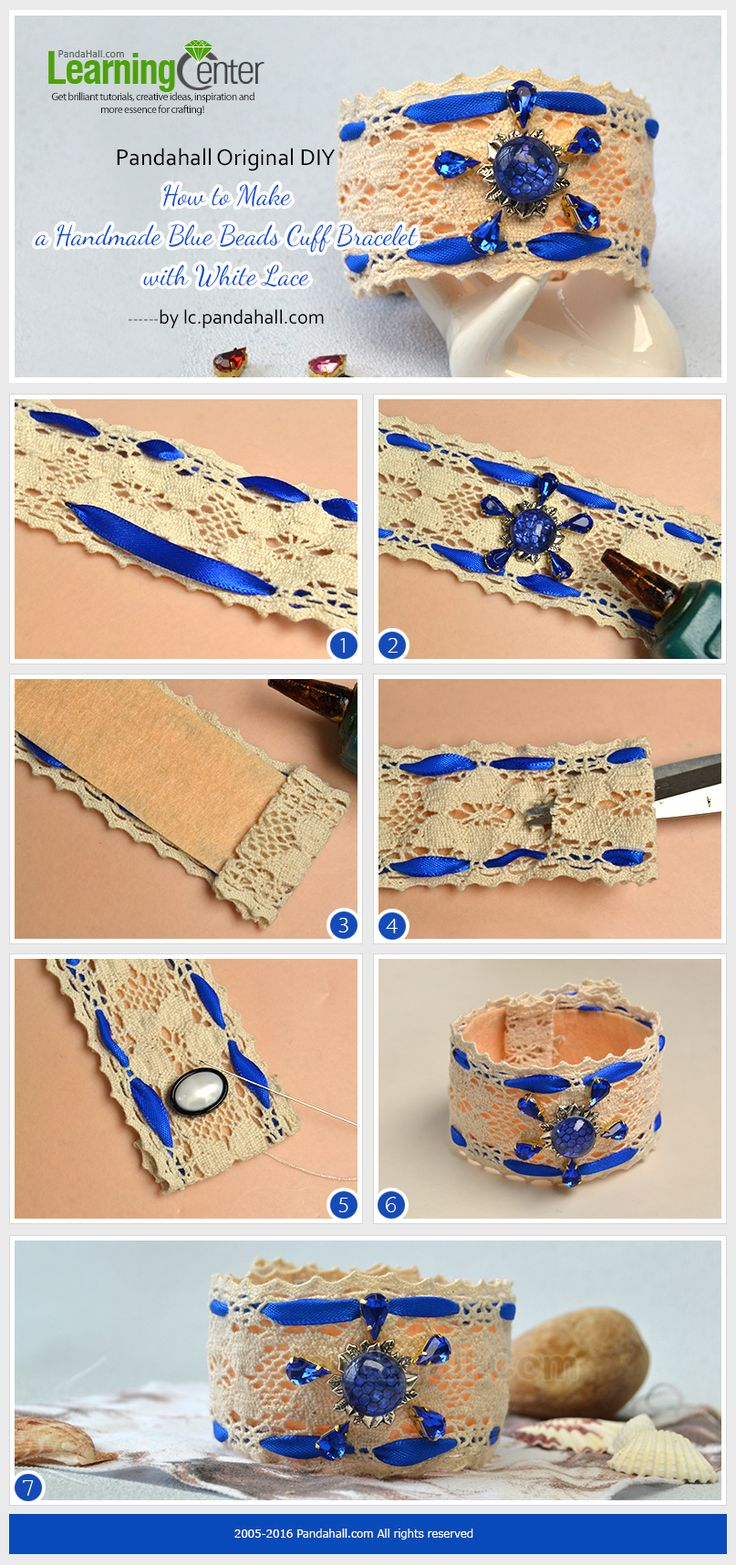 Pandahall Original DIY- How to Make a Handmade Blue Beads Cuff Bracelet with White Lace from LC.Pandahall.com