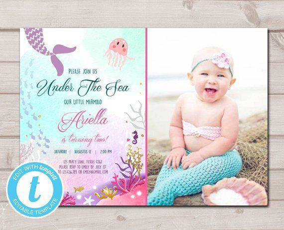 Mermaid Birthday Invitation Template Pink Purple Teal Mermaid Invitation Editable Under The Sea Party Invite Printable Templett  Download