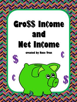 Do you need an activity that explains the difference between gross income and net income? Yes, our students are learning how to be financially literate! But there's not a lot of kid-friendly resources that break down these important lifelong skills. In this activity, students will learn about gross income and net income.