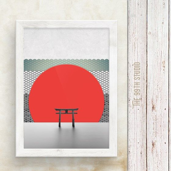 The Red Sun, Wall Art Print, Printable Large Poster, Japan, Japanese, Pattern, Minimalist, Authentic