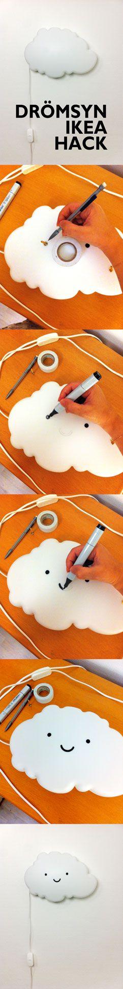 Drömsyn Ikea Hack. Eine leichte Wolke verwandelte sich in eine niedliche lächelnde helle Wolke. Nuage kawaii!