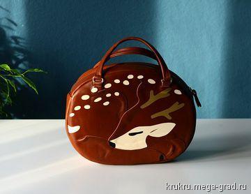Сумка Олень из кожи - сумки из кожи, эксклюзивные кожаные сумки. МегаГрад - портал авторской ручной работы