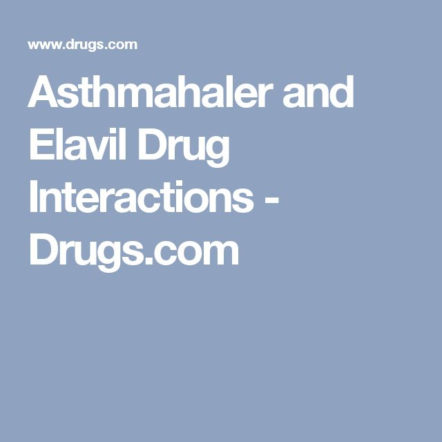 Asthmahaler and Elavil Drug Interactions - Drugs.com