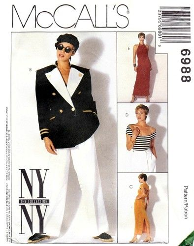McCall's 6988 Aye Aye Captain Jacket, Halter Dress, Top & Pants 1994