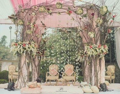 morning wedding decor , sikh wedding decor , anand karaj decor , pastel decor , dry twigs decor , stage decor , flower curtain