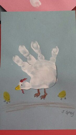 C is for chicken handprint craft