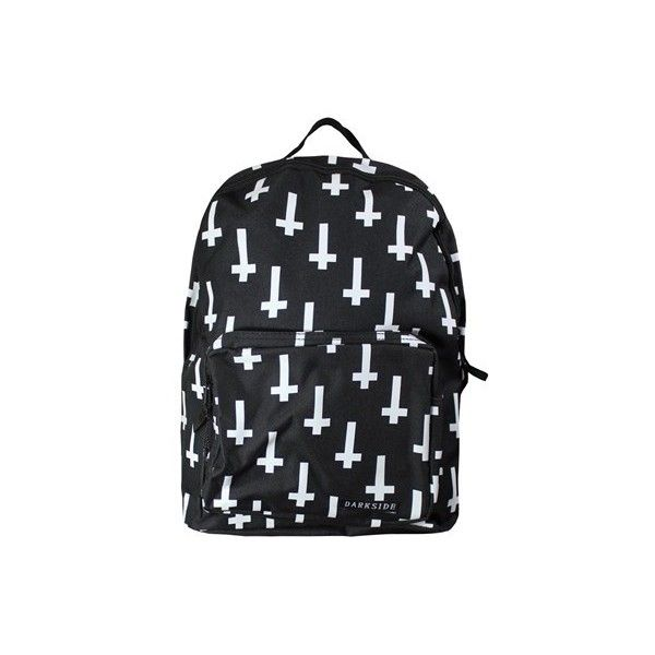 Inverted Cross Backpack (£20) ❤ liked on Polyvore featuring bags, backpacks, accessories, backpack, cross bag, black and white bag, black and white backpack, backpacks bags and rucksack bag