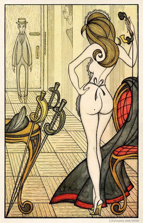 Горничная иностранца смущает почтенного буфетчика. Иллюстрации Юрия Смирнова
