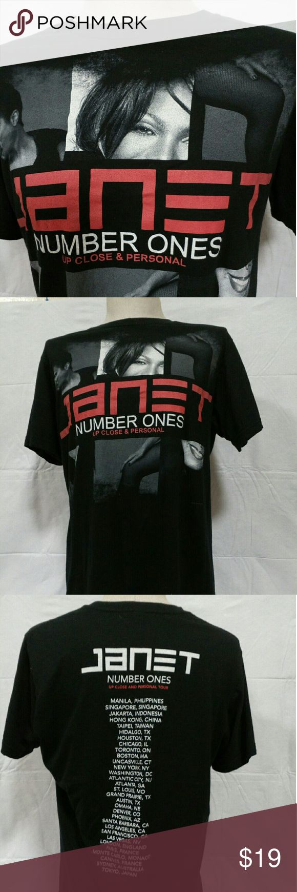 Janet Jackson Number one concert tour 2011 T-shirt PLEASE CHECK MEASUREMENT BEFORE YOU BUY!  LABEL SIZE  M  PIT TO PIT: 20 ''  FROM BACK COLLAR TO BOTTOM: 26''  IN EXCELLENT CONDITION,  HAS MINOR WARE .  NO DAMAGE OR STAINS .  I WASHED ALL MY ITEMS BEFORE SALE!  ITEMS COMES FROM A SMOKE FREE AND PET FREE HOUSE.  IF YOU HAVE ANY QUESTIONS FEEL FREE TO ASK Anvil Tops Tees - Short Sleeve