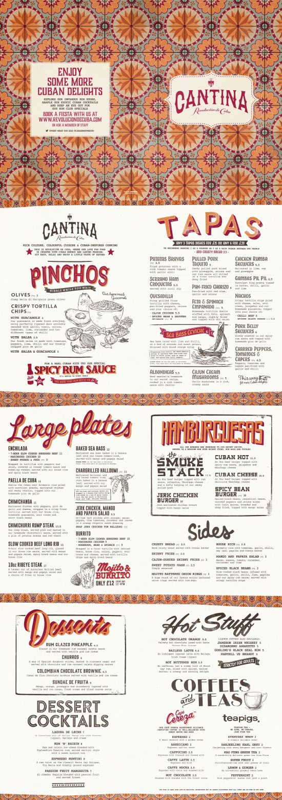 Cuban Food Menu, Graphic Design, Illustration, Typography, Pattern Design by www.diagramdesign.co.uk