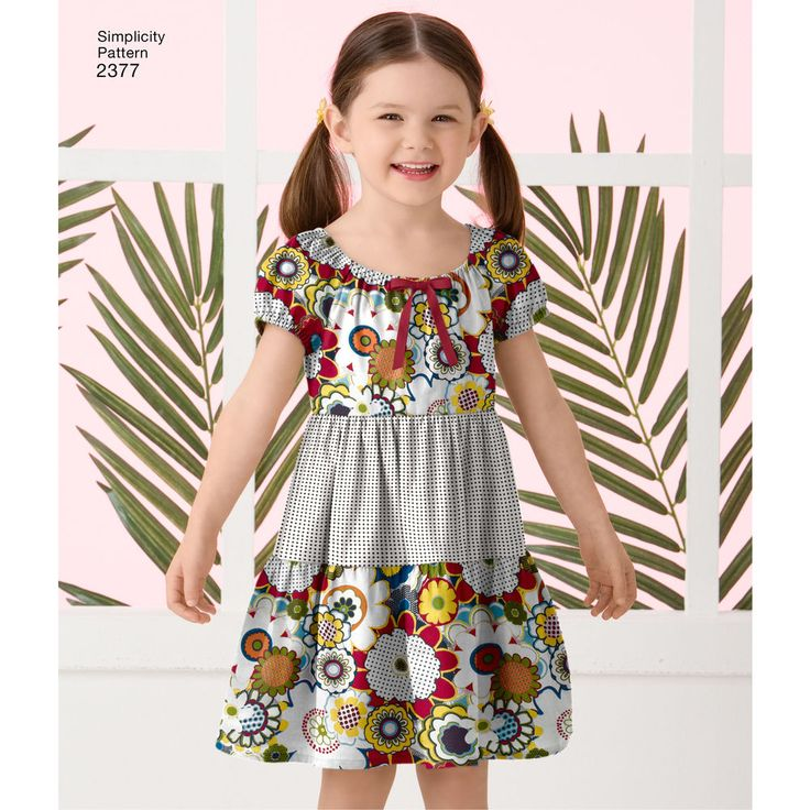 Child's easy-to-sew dress with skirt, bodice and variations. Optional ribbon trim. Simplicity sewing pattern.