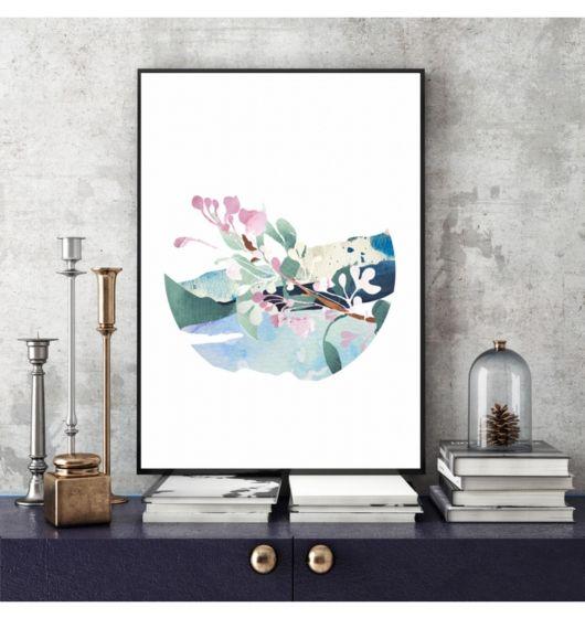 Gałązka kwitnącej jabłoni - grafika #illustration #design #ilustracja #grafika