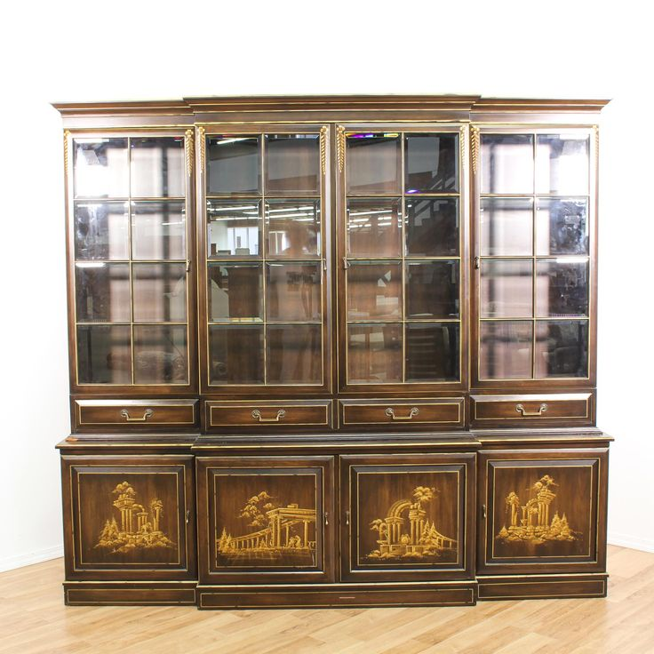 This china cabinet is featured in a solid wood with a glossy walnut finish. This Asian style hutch has beautiful scenic chinoiserie on 4 panel doors, 4 drawers, a glass showcase with beveled glass windows, spacious bottom cabinets, and 4 flat drawers. An elegant piece that's perfect for showing off fine china! #asian #storage #cabinet #sandiegovintage #vintagefurniture
