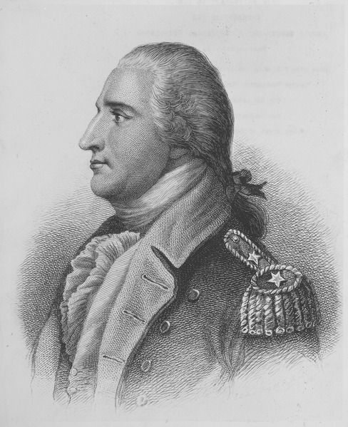 Benedict Arnold (1741 - 1801) was a general during the American  War who originally fought for the American Continental Army but defected to the British Army. Despite his successes, he was passed over for promotion by the Continental Congress. An investigation by Congress of his accounts found he had spent much of his own money on the war effort. Frustrated and bitter, Arnold received a commission as a brigadier general in the British Army