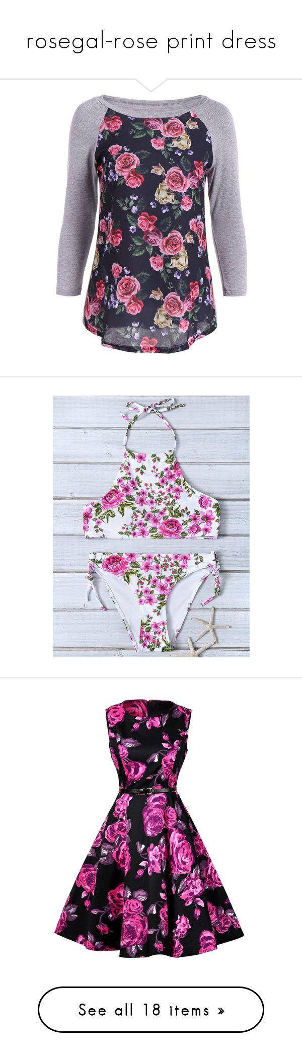 """rosegal-rose print dress"" by fshionme ❤ liked on Polyvore featuring tops, t-shirts, raglan sleeve tee, blue tee, floral print tops, floral print t shirt, raglan top, swimwear, bikinis and bikini swimwear"