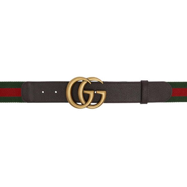 Gucci Green & Red Web GG Belt (2107180 PYG) ❤ liked on Polyvore featuring accessories, belts, green, green studded belt, red studded belt, gucci belt, adjustable belt and logo belts