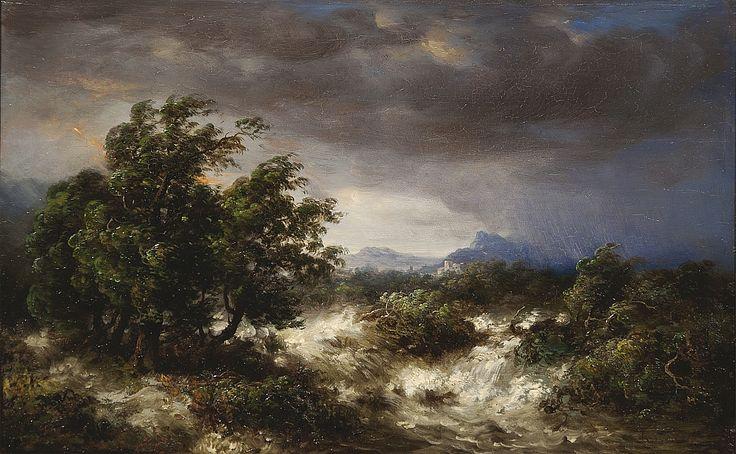 Horská krajina v bouři, 1853 | olej, dřevo, 33 x 52 cm