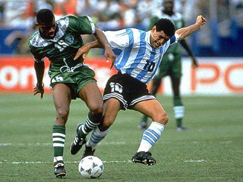 """Mundial 1994, Estados Unidos. """"La vuelta y la traición"""". En esta foto, DIEGO ARMANDO MARADONA en el segundo partido de primera fase, contra Nigeria. Argentina 2( Caniggia 2) -Nigeria 1( Sasa)."""