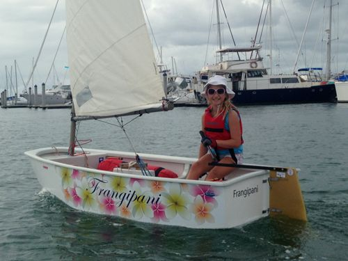 Girls make awesome sailors too! Frangipani is an OptiWraps Partial Wrap custom made for Frances. She wanted to have lot's of flowers, after which her Optimist Sailing Dinghy was named, on the side of her boat.  Look how pretty Frangipani is with her custom designed flower theme. You can see Frances sailing around the bays of the Brisbane area in her customized Optimist. www.optiwraps.com