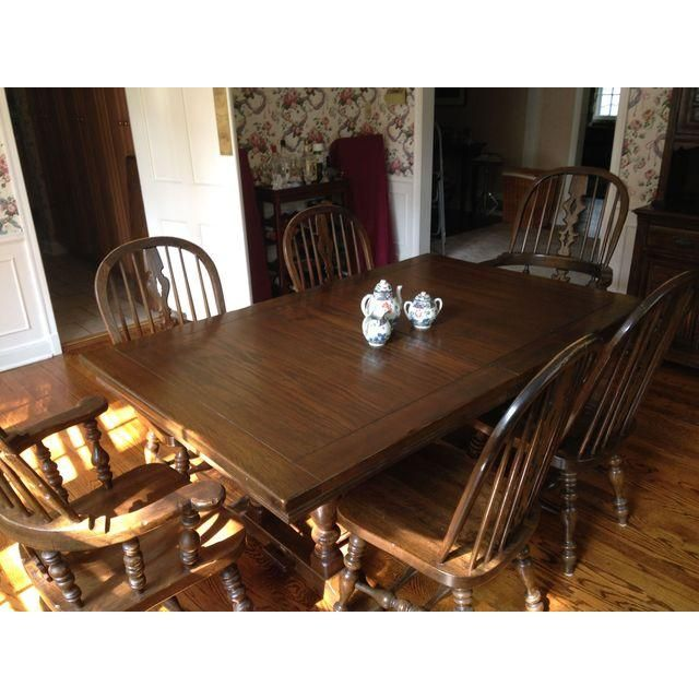 Image Of Vintage Ethan Allen Royal Charter Oak Dining Table