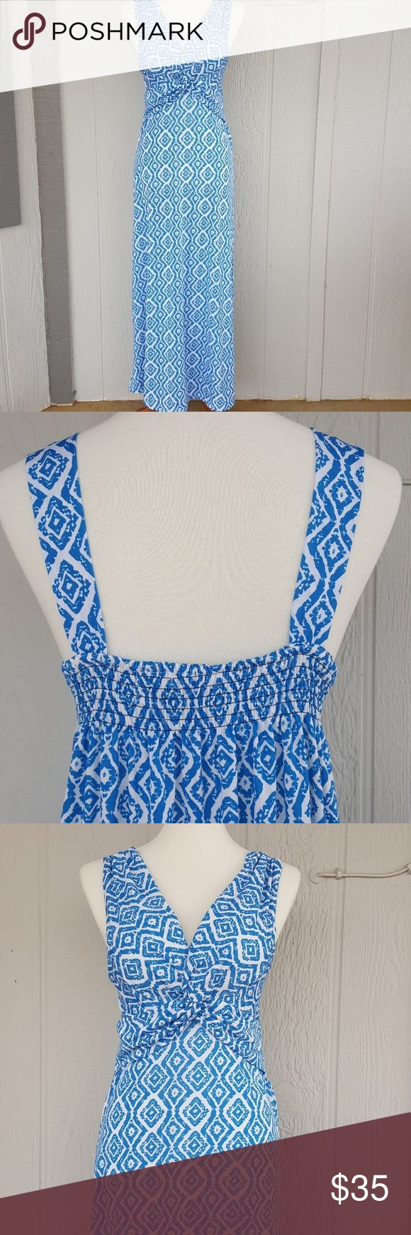 Blue and White Maxi Wrap Dress Sleeveless long dress with blue and white squares pattern. Dresses Maxi