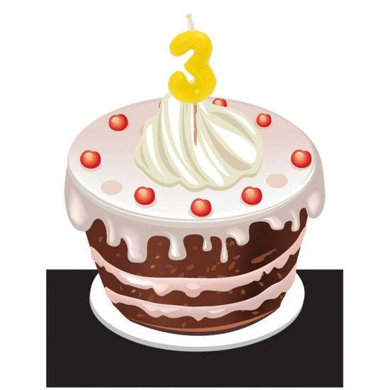 Kaarsje in de vorm van het getal 3. Kaarsjes voor bijvoorbeeld in de verjaardagstaart. Afmeting kaarsjes: 3.5 x 8 cm.