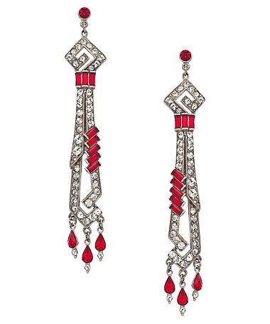 Ben-Amun Ruby Linear Deco Earrings #maxandchloe