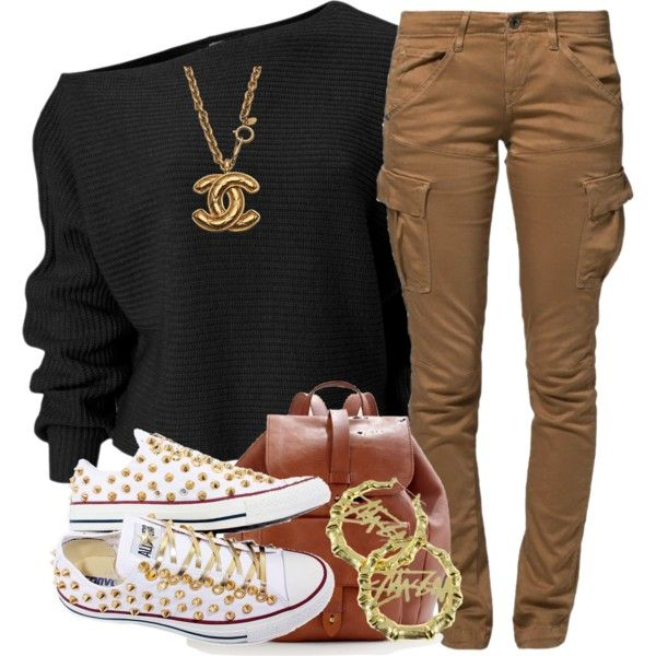 hmm.. by livelifefreelyy on Polyvore featuring G-Star Raw, Converse, Madewell, Chanel and Stussy