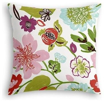 Pink & Purple Whimsical Floral Custom Euro Sham contemporary-pillowcases-and-shams