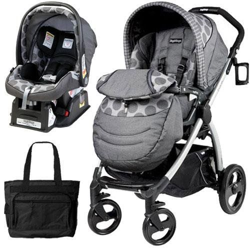 Peg Perego Book Plus Stroller Travel System with a Diaper Bag - Pois Grey Charcoal Grey Dots Travel System-compatible with the included Primo Viaggio SIP 30-30. Accepts car seat directly on to chassis.. The seat on the Book Plus can adjust to several different positions, including a newborn flat position. Pair the flat recline with the included foot muff to transform the Book Plus into carriage mo... #Peg_Perego #Baby_Product