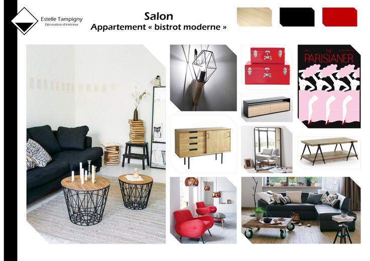 Planche d 39 ambiance salon appartement parisien bistrot moderne noir rouge et bois mes for Ambiance salon moderne