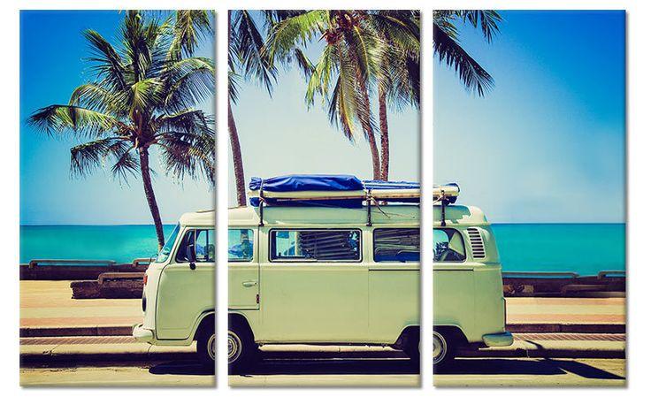 Canvas Schilderij VW Busje (drieluik)