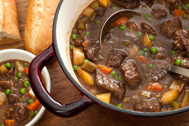 Easy Beef Stew Recipe - I used 2 cups beef broth (Knorr) and 2 cups water with a chicken bouillon cube.