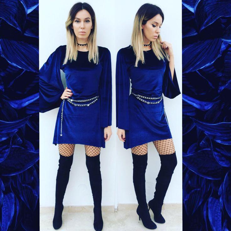 blue velvet dress by Laura Ion