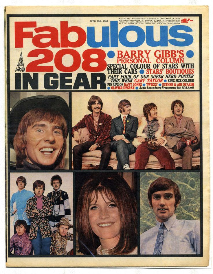 FABULOUS 208 13/4/1968 Twiggy Gary Taylor Bee Gees Gary Taylor Davy Jones